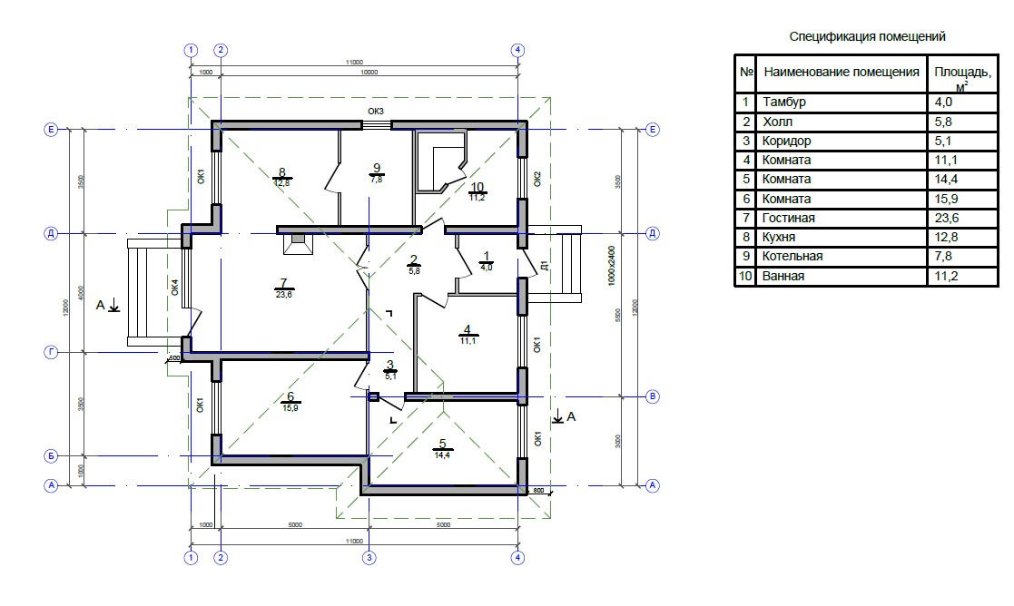 Дом 11x12 Тихий уголок
